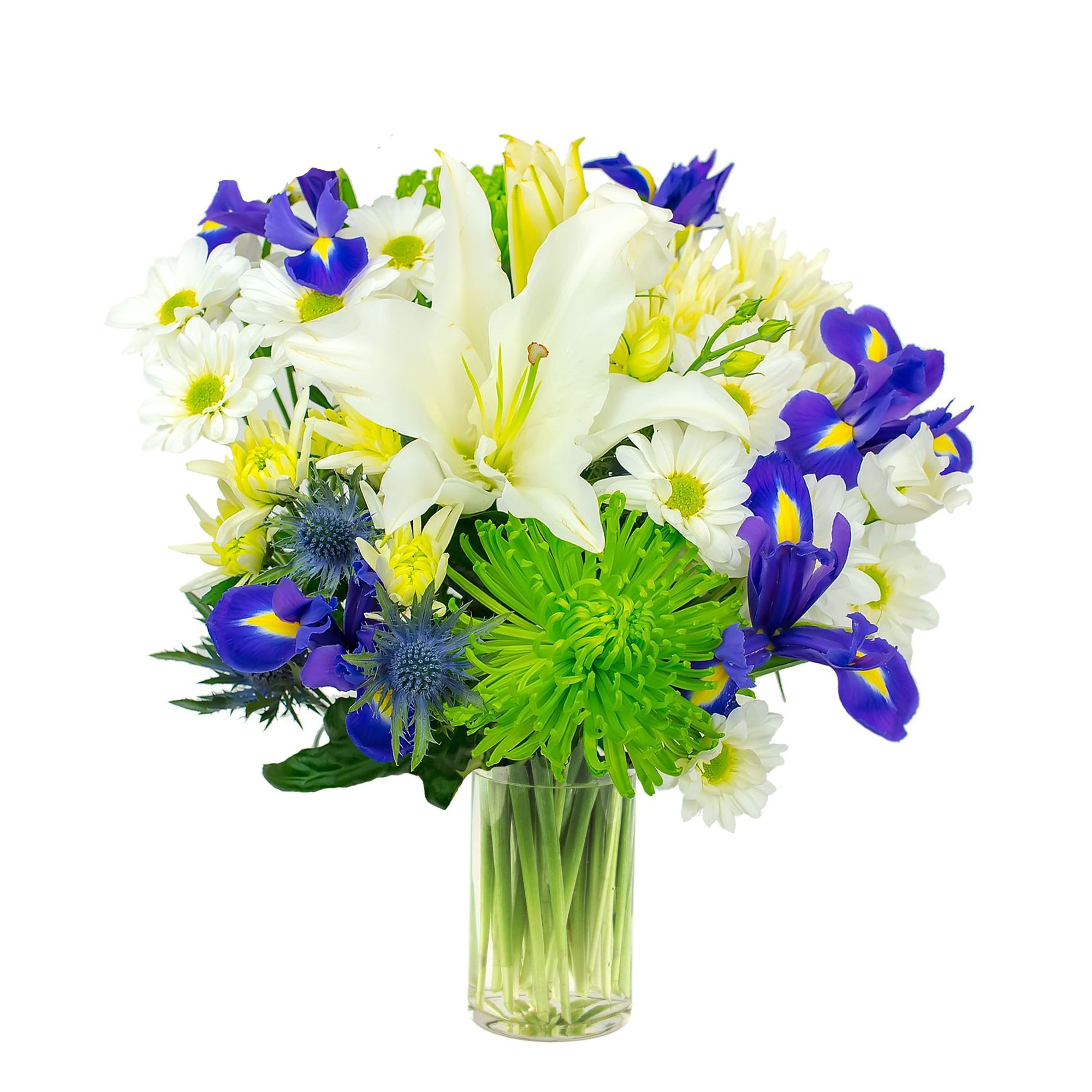 Blue And White Flower Bouquet Luxury Box Boutique